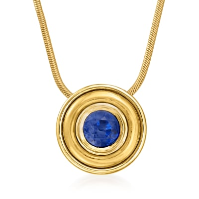 C. 1980 Vintage 1.25 Carat Sapphire Circle Necklace in 14kt Two-Tone Gold