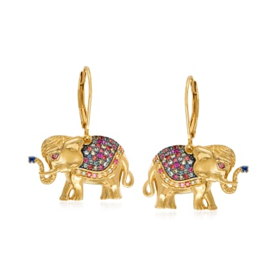 .60 ct. t.w. Multicolored Sapphire and .20 ct. t.w. Ruby Elephant Drop Earrings in 18kt Gold Over Sterling