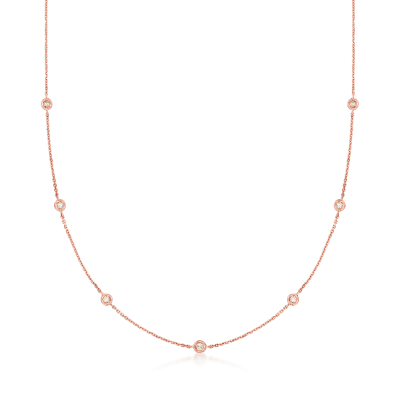 .20 ct. t.w. Diamond Station Necklace in 14kt Rose Gold
