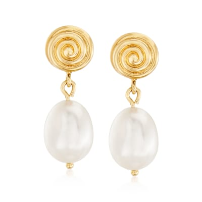 10x8mm Cultured Pearl Swirl Drop Earrings in 14kt Yellow Gold