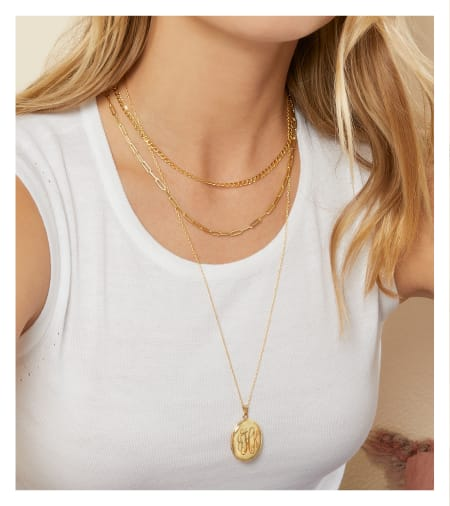 Layered Necklaces. Image Featuring Layered Gold Layered Necklaces
