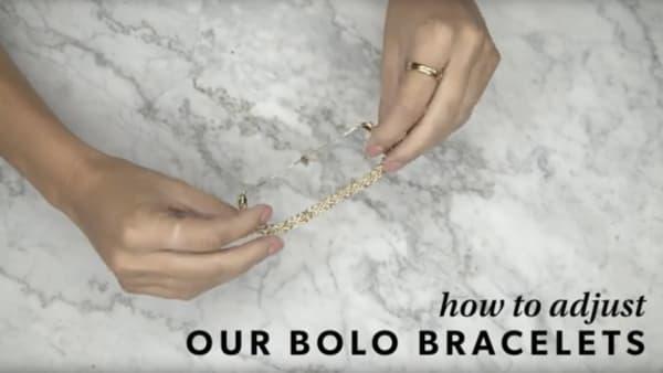 Bolo bracelet YouTube video. Model showing how to adjust.
