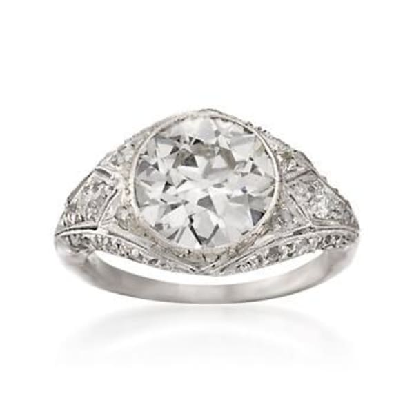 C. 1990 Vintage 3.35 ct. t.w. Diamond Ring in Platinum Size 5.5 #768384