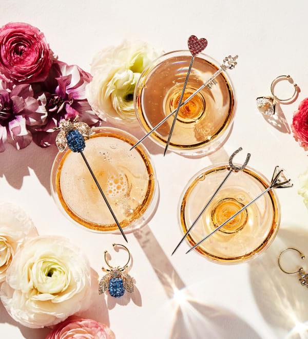 Spring Entertaining Nature-Inspired Dinning. Image of Cocktail Stocks on Wine Glasses.