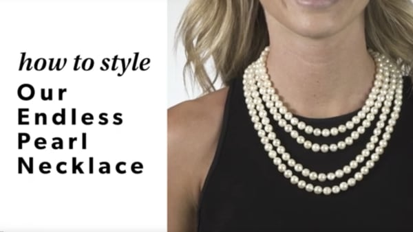 Endless pearls YouTube video. Model wearing endless pearl necklace.