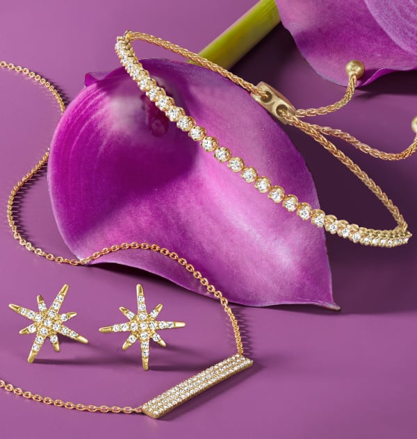 Modern fine jewelry To Complement Mom's Wardrobe. Image Featuring Elegant Gold Diamond Jewelry