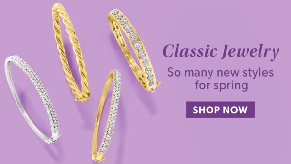 Classic Jewelry. Shop Now. Image Featuring Bracelets on Pink Background