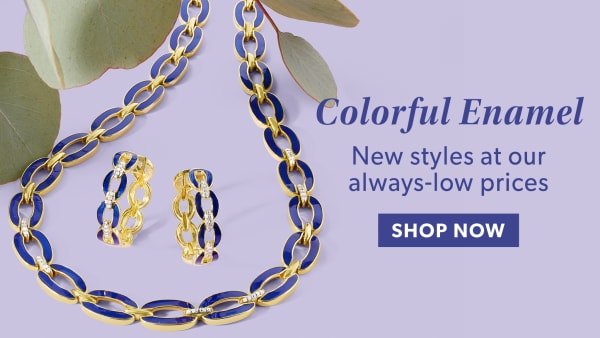 Colorful Enamel. Shop Now. Image Featuring Enamel and Diamond Necklace and Earrings