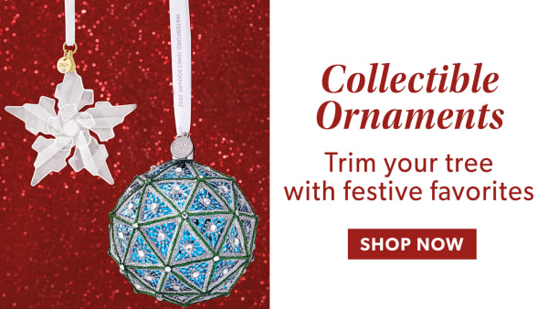 Collectible Ornaments. Trim Your Tree With Festive Favorites. Shop Now. Image Featuring Star and Ornament on Red Background