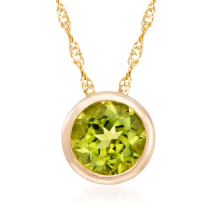 .90 Carat Bezel-Set Peridot Pendant Necklace in 14kt Yellow Gold