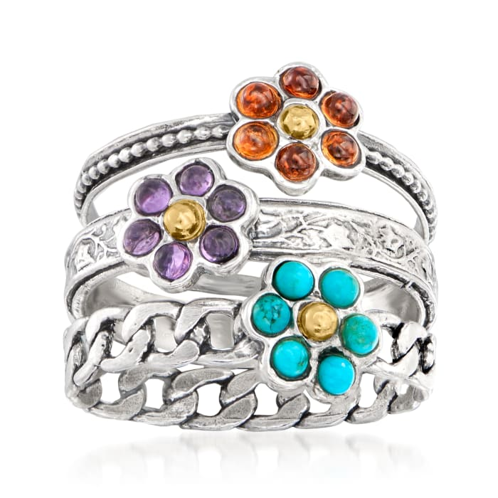 Turquoise, .50 ct. t.w. Garnet and .20 ct. t.w. Amethyst Jewelry Set: Three Flower Rings in Sterling Silver