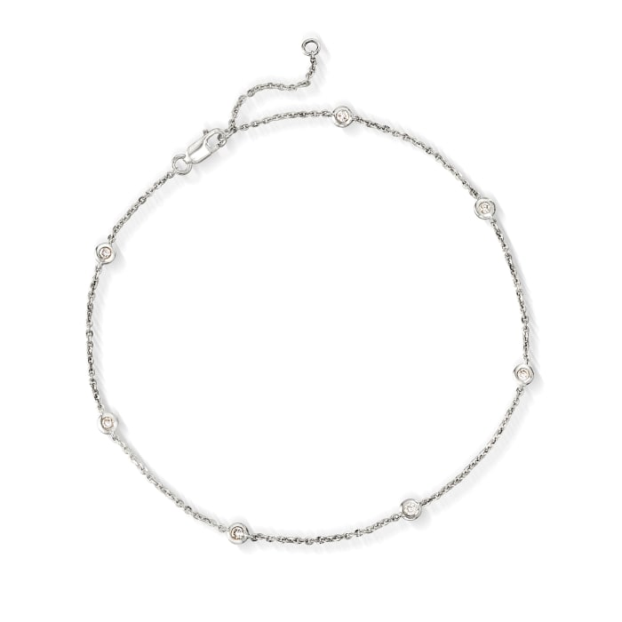 .20 ct. t.w. Bezel-Set Diamond Anklet in 14kt White Gold