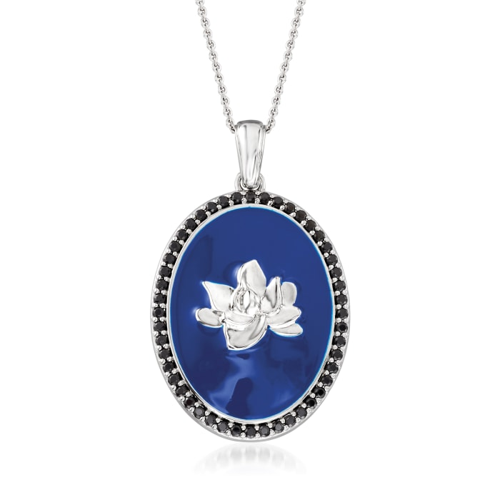 .20 ct. t.w. Black Spinel and Blue Enamel Floral Pendant Necklace in Sterling Silver