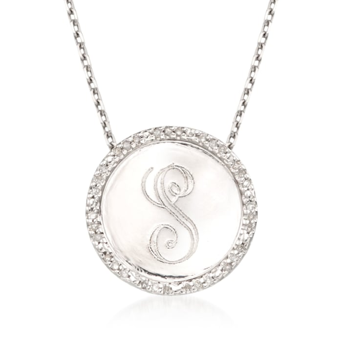 .10 ct. t.w. Diamond Single-Initial Circle Pendant Necklace in Sterling Silver