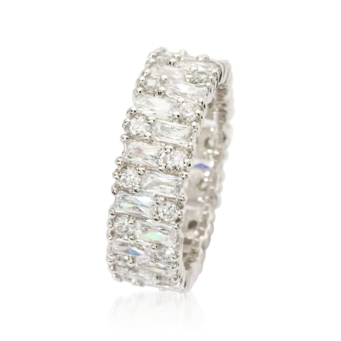 3.85 ct. t.w. Baguette and Round CZ Eternity Band in Sterling Silver
