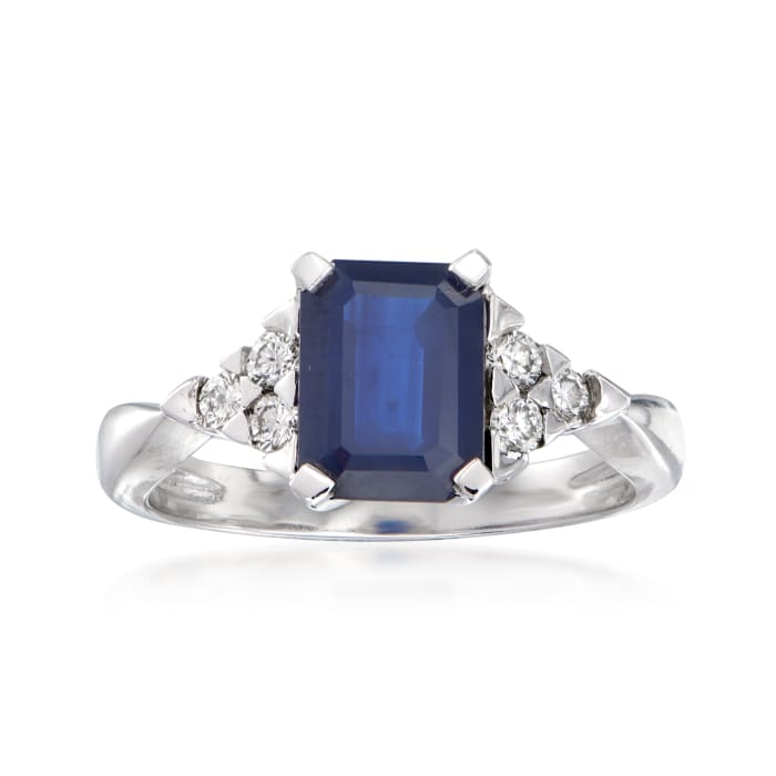 1.80 Carat Sapphire and .24 ct. t.w. Diamond Ring in 14kt White Gold