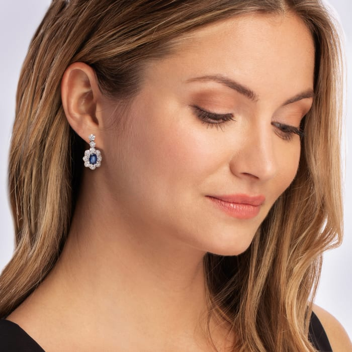 2.00 ct. t.w. Sapphire and 1.70 ct. t.w. Diamond Drop Earrings in 14kt White Gold