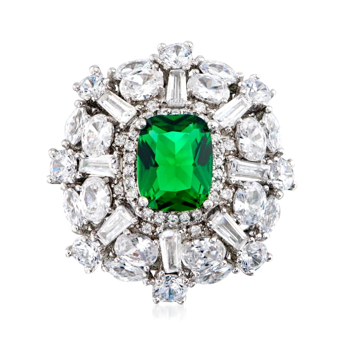 2.40 Carat Simulated Emerald and 2.85 ct. t.w. Multi-Shaped CZ Ring in Sterling Silver