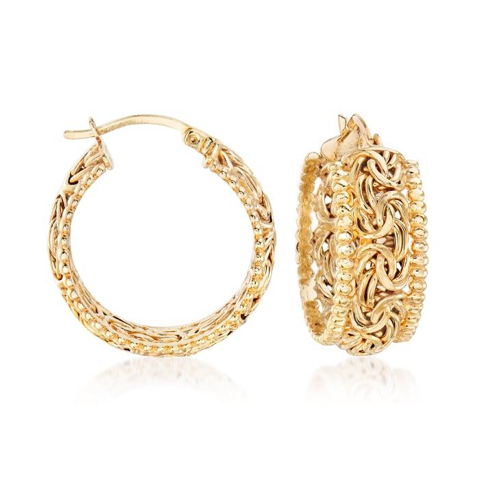18kt Gold Over Sterling Beaded-Edge Byzantine Hoop Earrings