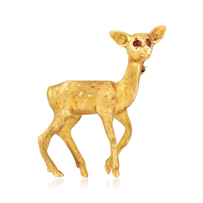 C. 1970 Vintage Deer Pin with Ruby Accents in 14kt Yellow Gold