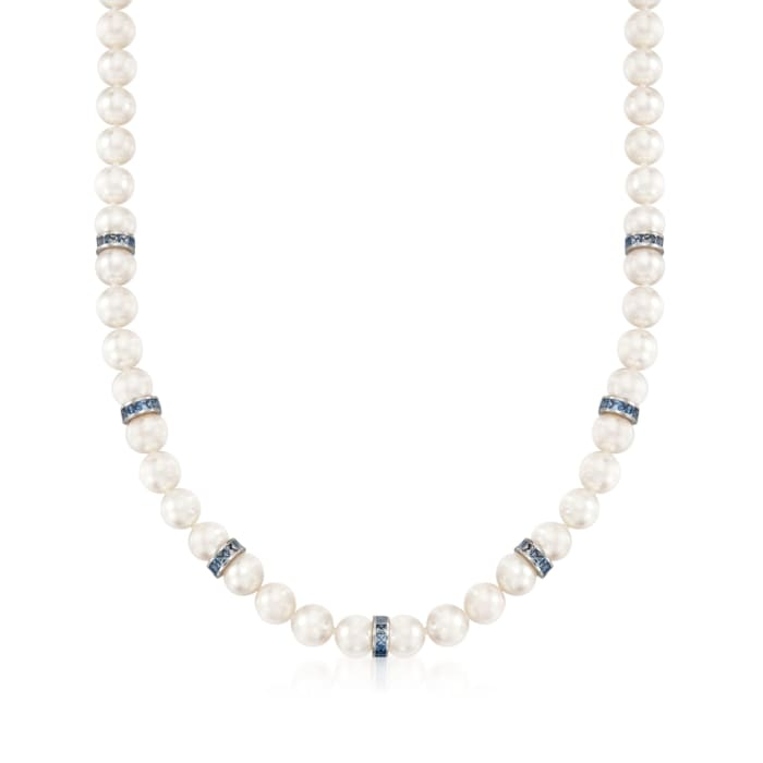 Mikimoto 7-7.5mm A1 Akoya Pearl and Sapphire Necklace with 18kt White Gold