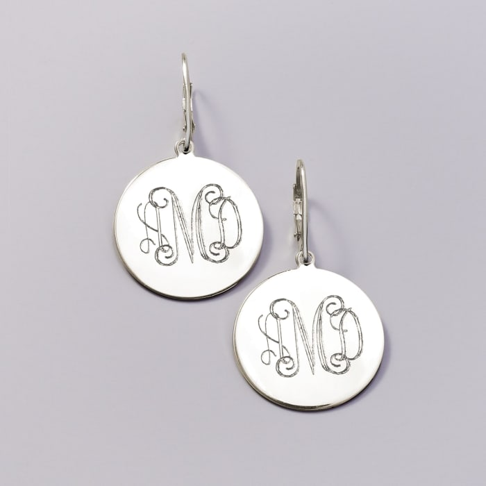 Italian Sterling Silver Monogram Disc Drop Earrings
