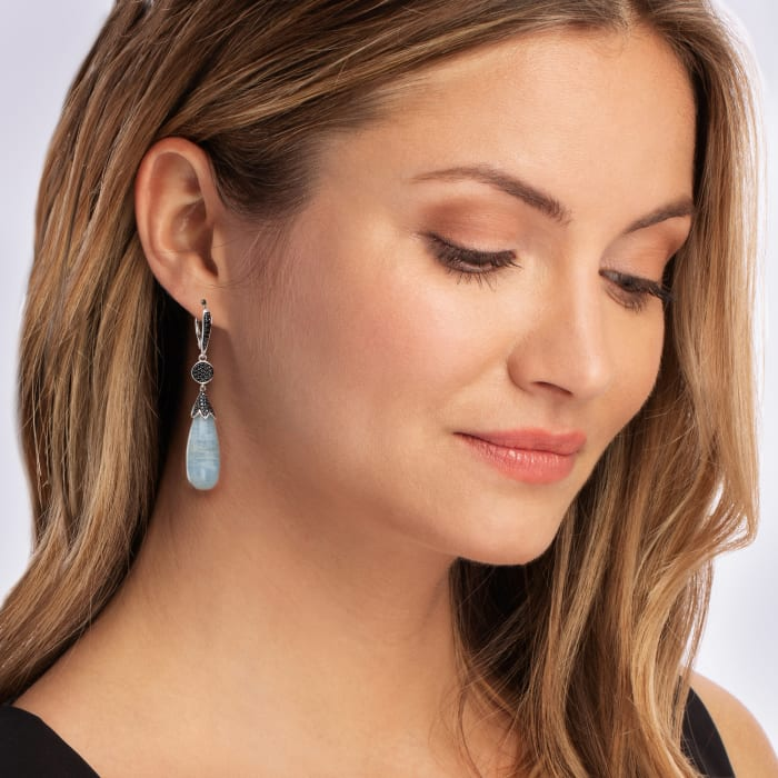 35.00 ct. t.w. Aquamarine and .80 ct. t.w. Black Spinel Drop Earrings in Sterling Silver