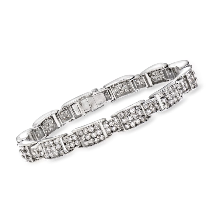 C. 1970 Vintage 6.35 ct. t.w. Diamond Link Bracelet in 14kt White Gold