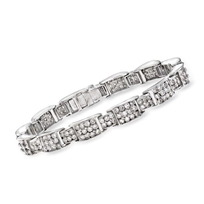 C. 1970 Vintage 6.35 ct. t.w. Diamond Link Bracelet in 14kt White Gold
