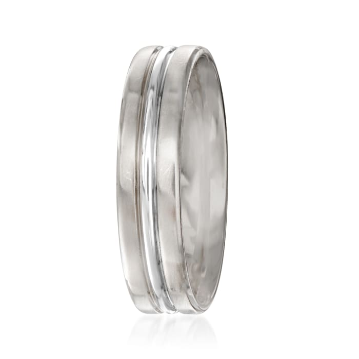 Men's 6mm Platinum and 18kt White Gold Wedding Ring