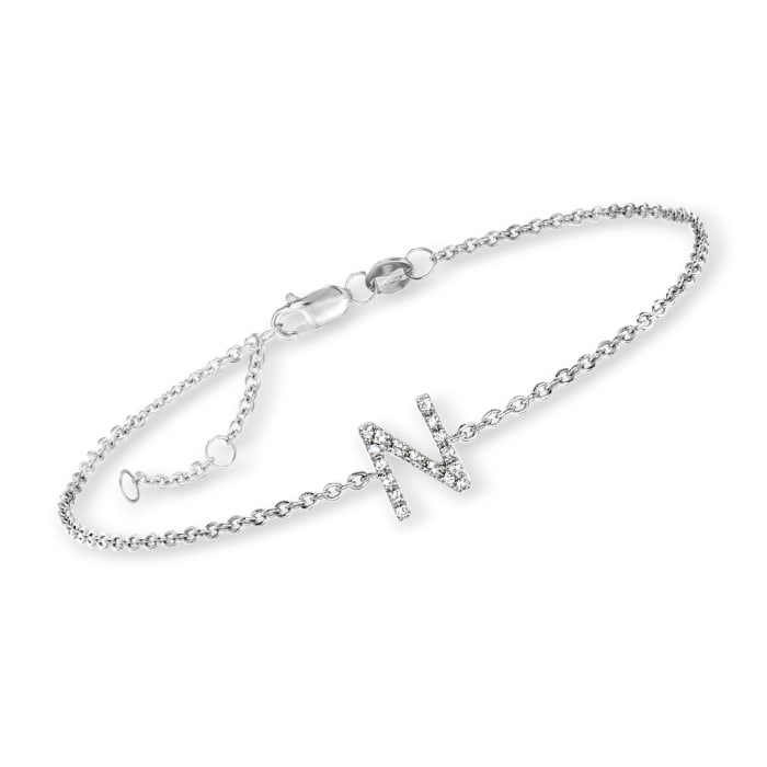 Diamond-Accented Single-Initial Bracelet in Sterling Silver