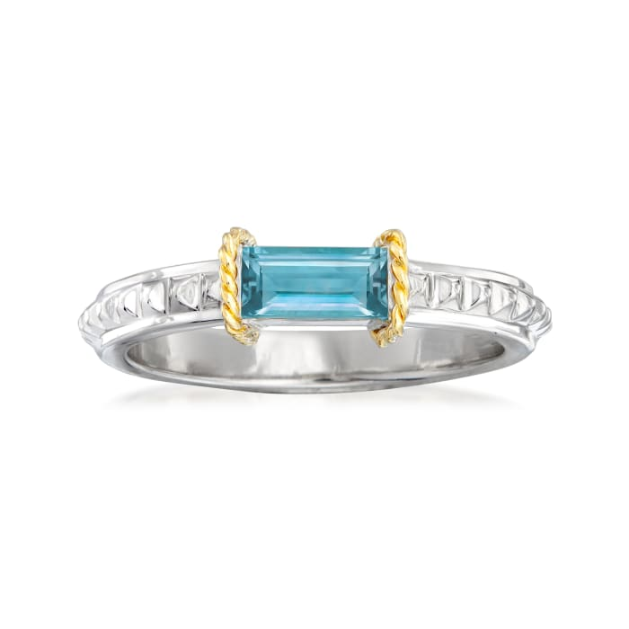 """Andrea Candela """"La Romana"""" .61 Carat Swiss Blue Topaz Ring in Sterling Silver and 18kt Yellow Gold"""