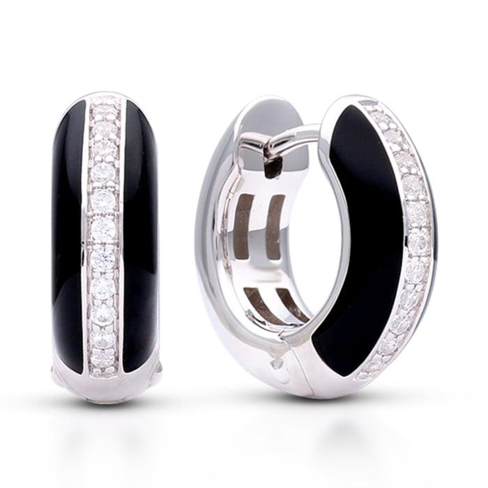 """Belle Etoile """"Tenuto"""" Black Enamel and .30 ct. t.w. CZ Omega Earrings in Sterling Silver"""