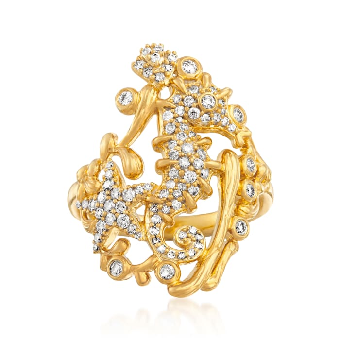 .50 ct. t.w. Diamond Seahorse and Starfish Ring in 18kt Gold Over Sterling