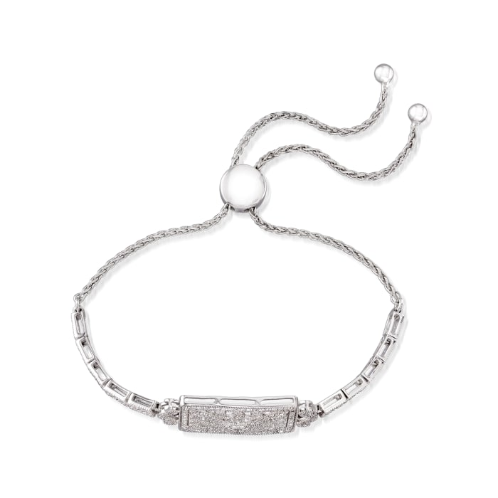 .50 ct. t.w. Diamond Scrollwork Bolo Bracelet in Sterling Silver