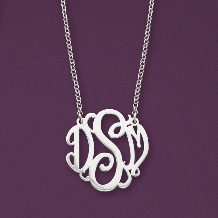 Sterling Silver Medium Script Monogram Necklace