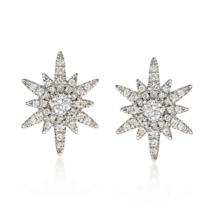 Gabriel Designs .39 ct. t.w. Diamond Starburst Earrings in 14kt White Gold