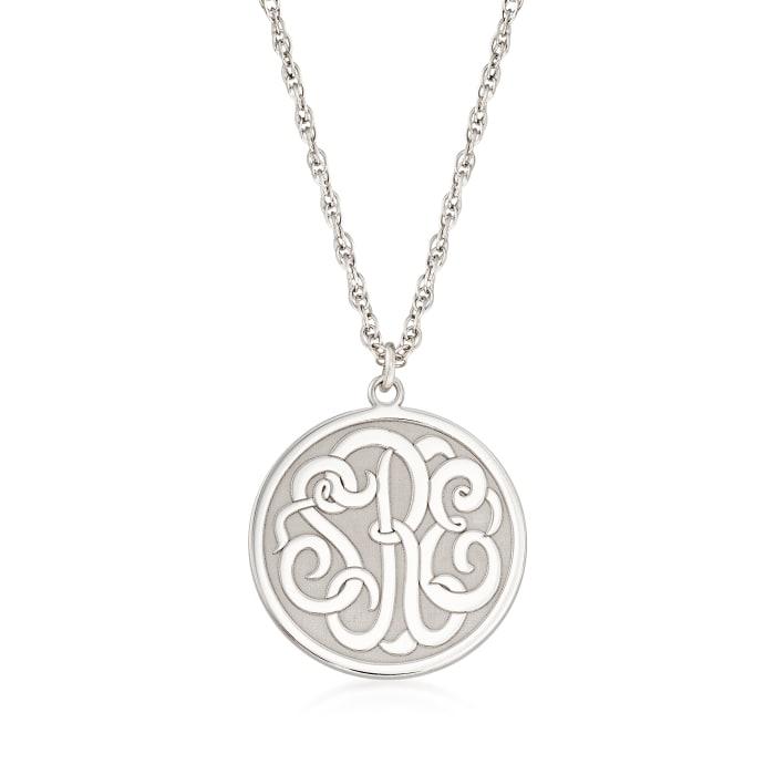 Sterling Silver Script Monogram Circle Pendant Necklace