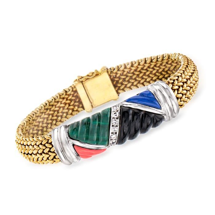 C. 1990 Vintage Asch Grossbardt Multi-Gemstone and .20 ct. t.w. Diamond Bracelet in 18kt Yellow Gold and Platinum