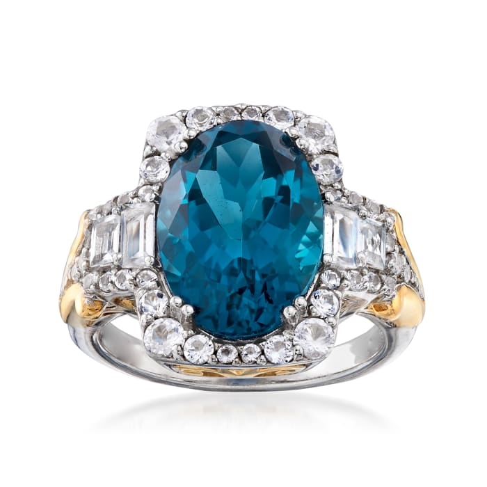 6.70 ct. t.w. London Blue and White Topaz Ring in Two-Tone Sterling Silver