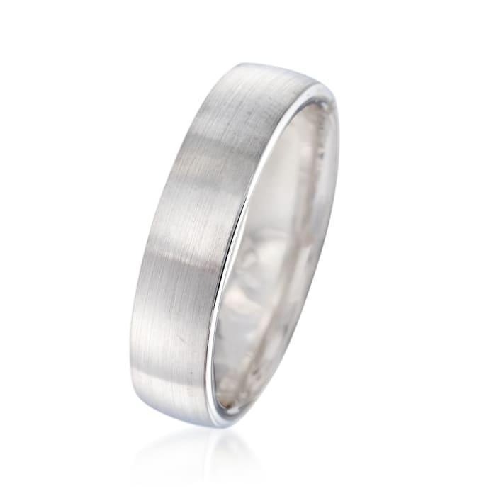 Men's 5.5mm 14kt White Gold Brushed Wedding Ring