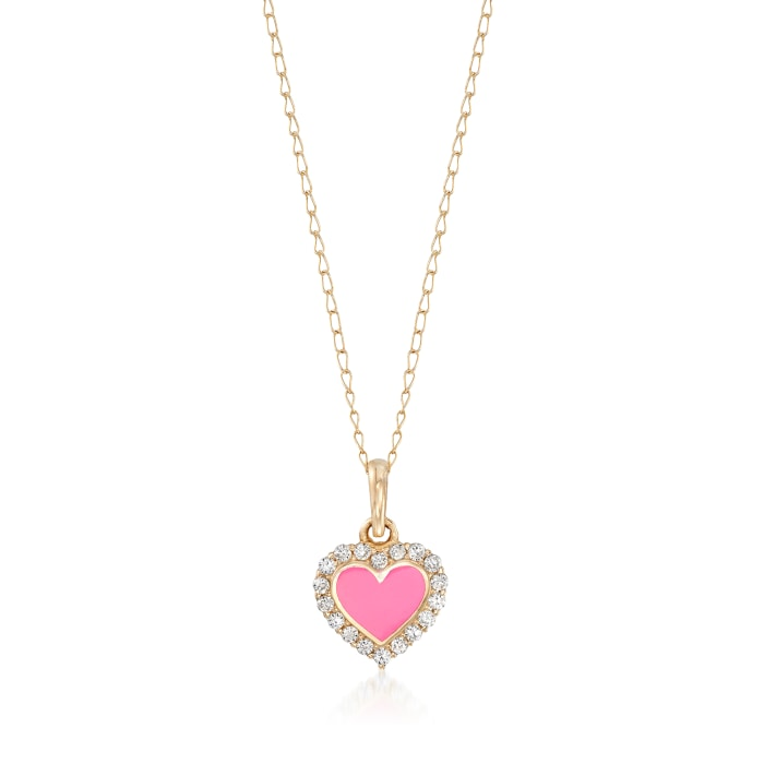 Child's Pink Enamel Heart Pendant Necklace with CZ Accents in 14kt Yellow Gold