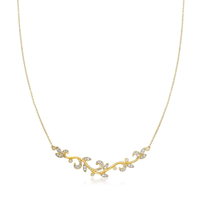 Gabriel Designs .35 ct. t.w. Diamond Leaf Necklace in 14kt Yellow Gold