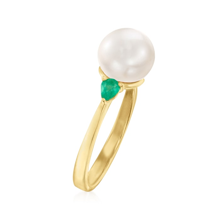 8mm Cultured Pearl and .20 ct. t.w. Emerald Ring in 18kt Gold Over Sterling