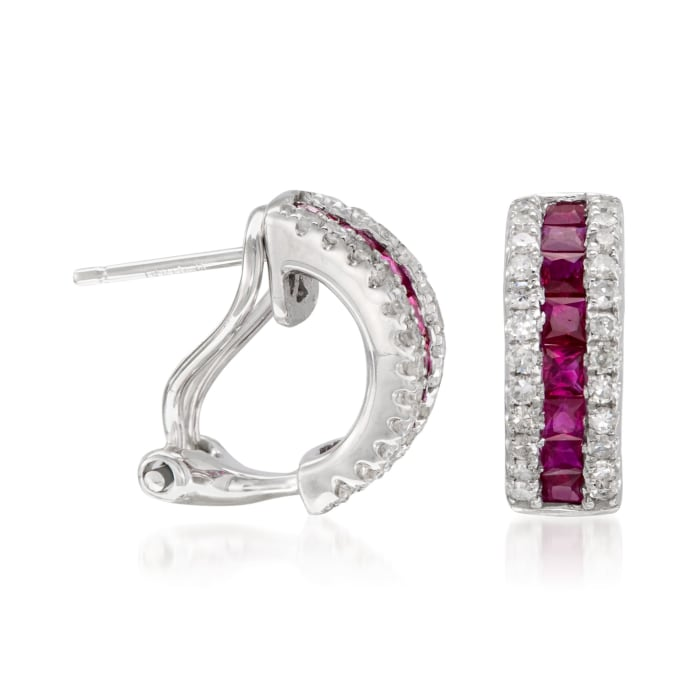 1.10 ct. t.w. Ruby and .30 ct. t.w. Diamond Hoop Earrings in 14kt White Gold