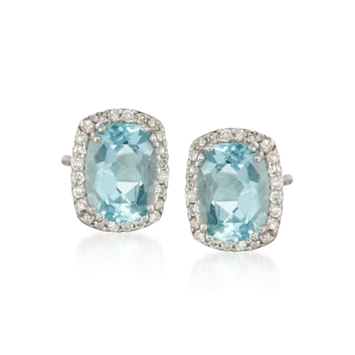 1.40 ct. t.w. Aquamarine and .14 ct. t.w. Diamond Stud Earrings in 14kt White Gold