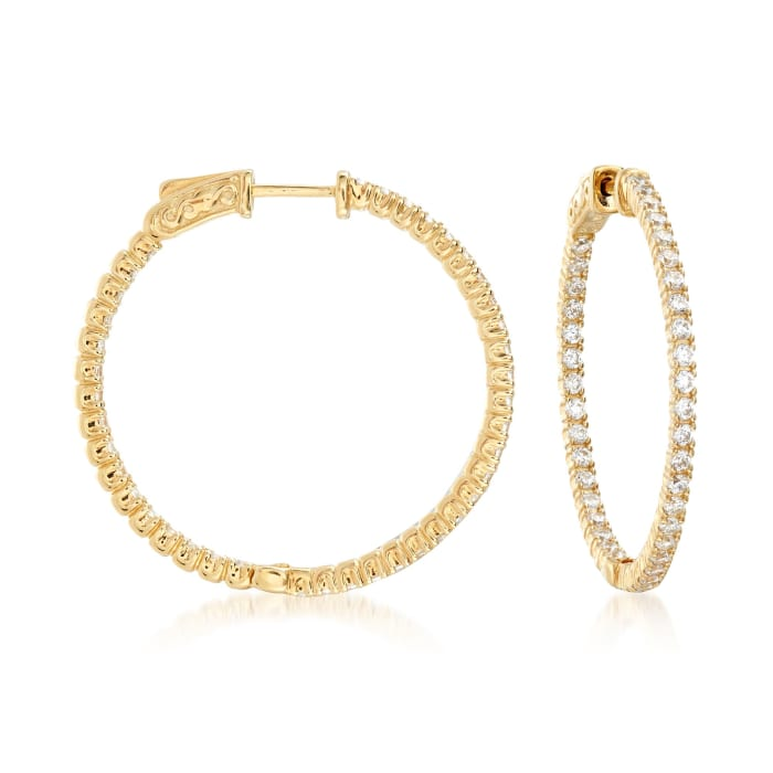 2.00 ct. t.w. CZ Inside-Outside Hoop Earrings in 18kt Gold Over Sterling