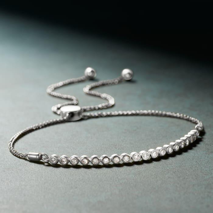 .33 ct. t.w. Bezel-Set Diamond Bolo Bracelet in Sterling Silver