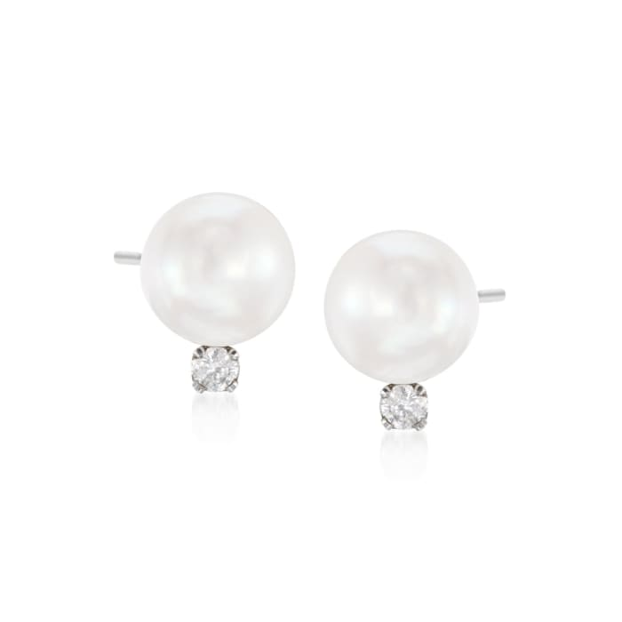 8-8.5mm Cultured Akoya Pearl and .15 ct. t.w. Diamond Earrings in 14kt White Gold