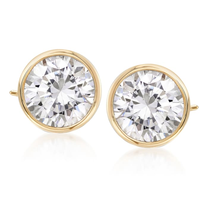 3.00 ct. t.w. Bezel-Set CZ Stud Earrings in 14kt Yellow Gold